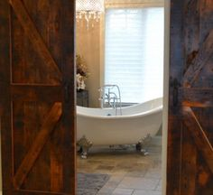 Create a unique focal point in your space with a custom sliding barn wood door or fireplace mantel and really wow your guest. Barnwood Doors, Barn Wood, Rustic Elegance, Fireplace Mantels, Clawfoot Bathtub, Your Space, Fireplace Mantle Shelf, Mantels