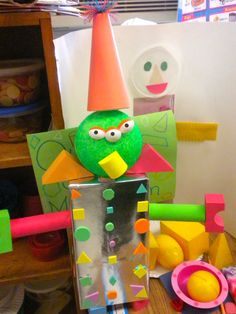 math project: make a shape creature!  have students identify what shapes are used!