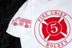 Fire Truck Birthday Shirt With FD Crest and Caption on Back. Vintage Firetruck on Sleeve. Fire Engine Party. Short or Long Sleeves on Etsy, $22.95 - if I hadn't bought the other one, I'd get this one right now.