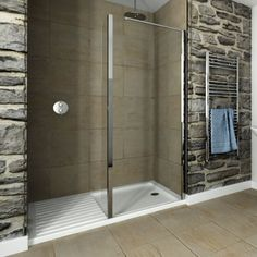 Recess Walk-In 1400 x 900mm Acrylic Shower Tray With 900 Glass Return - Image 1