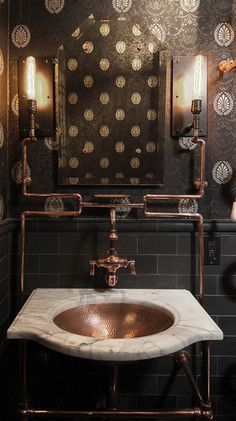 Cool bathroom.  I like all the brass pipes