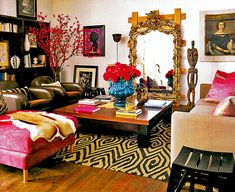 Living room, pattern mixing, saturated colors, statement rug