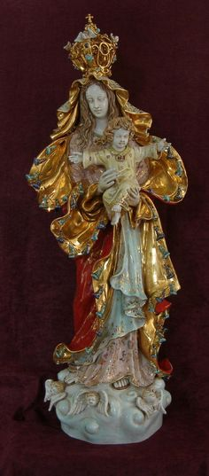 """Our Lady Queen of Peace Madonna and Child Statue in hand-painted ceramic, 38"""" - How I would love to have this!"""