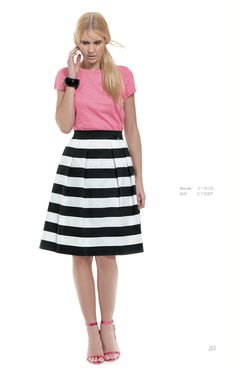 Create an amazing daily outfit pairing a stripped midi skirt and a basic bright-coloured top!