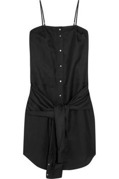 Knotted-front silk-twill dress #dress #women #covetme #tbyalexanderwang #sexy #fashion #bbloggers #style