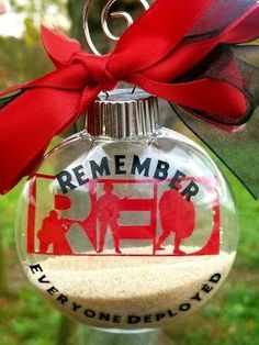 Remember Everyone Deployed, Red Friday, Ornament Tutorial, Cricut Tutorials, Memorial Day, Christmas Bulbs, Holiday Decor, Military Families, Care Packages