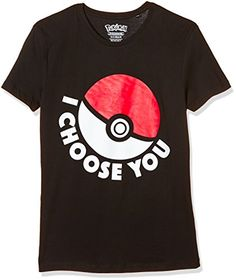 Men's Pokemon I Choose You Short Sleeve T-Shirt, Black (B…