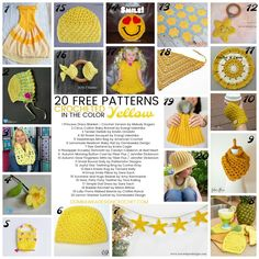 20 Free Patterns Crocheted In the Color Yellow via @OombawkaDesign