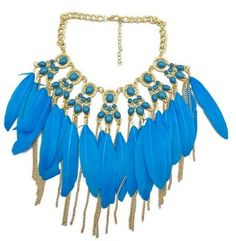 Bohemian Style Golden Chunky Beads Chain blue Feather Tassel Choker Bib Necklace