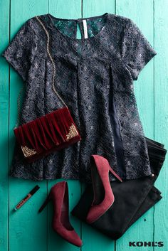 A holiday party is the perfect time to explore the darker side of your style. Featured product includes: LC Lauren Conrad lace boxy top and heels, Jennifer Lopez superskinny jeans, Lenore by La Regale velvet roll clutch and LORAC PRO liquid lipstick in Dusty Rose. Find your holiday style at Kohl's.