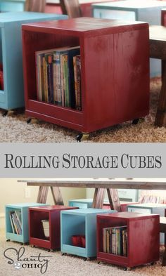 DIY Rolling Storage Cubby Stools - these would be great with a colorful cushion in kid's room for their toys - or could coordinate with den or rec room colors and still hold kid's toys!
