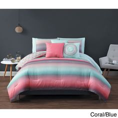 Upgrade your bedroom instantly with the Cypress 10-piece bed in a bag set, constructed of quality polyester microfiber. Bold and soft colored stripes blend with each other for an almost ombre design in this lovely set. It is conveniently machine washable.
