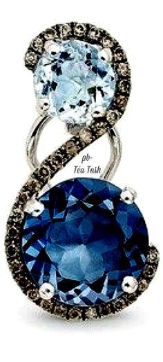 ❇Téa Tosh❇Le Vian, Ocean Blue Topaz & Chocolate Diamonds®, set in 14k. Vanilla Gold®
