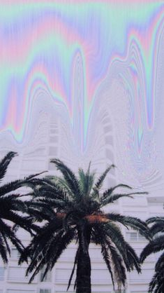 Holographic palm trees iphone wallpaper