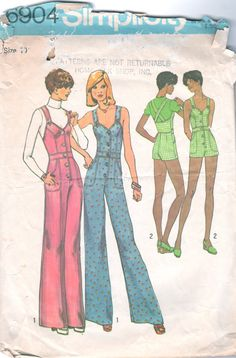 1970s Simplicity 6904  Misses Princess Seam Jumpsuit Overalls Romper Pattern womens vintage sewing pattern by mbchills