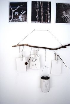A stick being useful, so nice I had to go find it and pin it twice http://eldrids.blogspot.com/2011/11 /sndags-pyssel.html #driftwood #display #wood