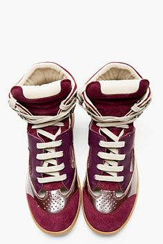 So bad I want these!!!! MAISON MARTIN MARGIELA Plum Leather Cut-Out High-Top Sneakers