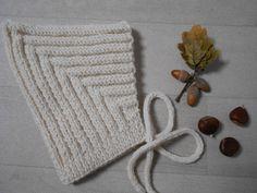 """Ness Créative - Béguin """"lutin des forêts"""" 3/6 mois, crème 100% laine d'alpaga"""