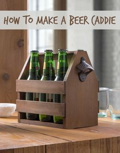 Learn how to make a DIY beer caddie using these plans. It even has a bottle opener on the side . . . and makes the perfect gift! via @diy_candy #GetWise #ad