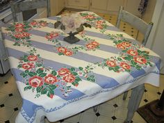 Vintage Tablecloth Roses on Stripes by unclebunkstrunk on Etsy ***ALSO SEE Vintage Jewelry at: http://MyClassicJewelry.com/shop