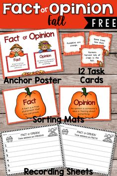 This (free) resource provides teachers with a fun fall-themed literacy activity to teach and or review facts and opinions.