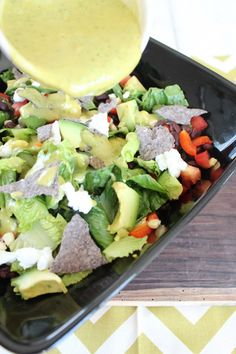 Chopped Mexican Salad with Honey Lime Dressing #recipe #GlutenFree #vegetarian