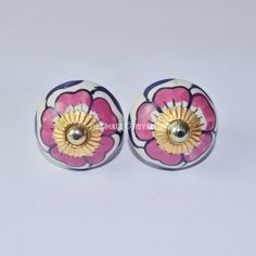 Hand Painted Floral and Leafs Ceramic Knobs, Set of 2 on RoyalFurnish.com, $3.99