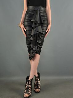 Black Waterfall Leather Pencil Skirt