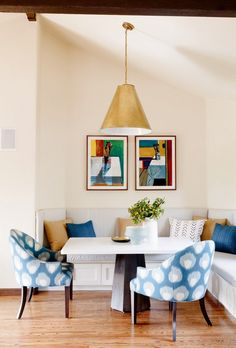 Kitchen Banquette Nook With Blue Side Chairs
