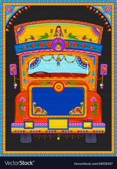 Find Illustration Colorful Welcome Banner Truck Art stock images in HD and millions of other royalty-free stock photos, illustrations and vectors in the Shutterstock collection. Thousands of new, high-quality pictures added every day. Kerala Mural Painting, Madhubani Painting, Indian Art Paintings, Art And Illustration, Graphic Design Illustration, Truck Art Pakistan, Arte Peculiar, Kitsch Art, Rajasthani Art