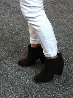 Transition dressing: Avon's Wear Me Any Wear Booties with cropped white jeans