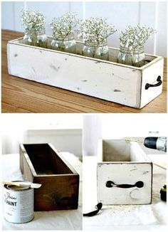 Diy Wood Box, Wooden Diy, Wood Boxes, Rustic Wooden Box, Painting Wooden Furniture, Wood Furniture, Furniture Plans, Antique Furniture, Modern Furniture