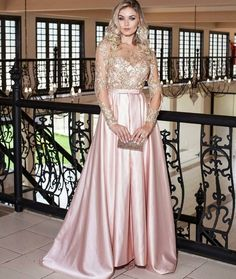 vestido de festa rosa claro manga