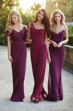 Dark purple and plum chiffon A-line bridesmaid dresses by Jim Hjelm Occasions, Spring 2015