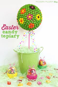 Easter Candy Topiary Tutorial - Make a fun Easter centerpiece. [via @jenniferpilgrim | ModernPilgrimBlog.com]