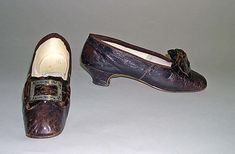 Shoes, 1867, leather, silver, cotton