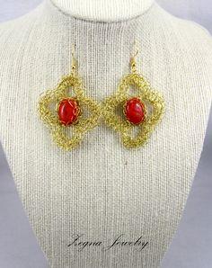 Wire Crochet Corals Earrings. by ZegnaJewelry on Etsy, $26.00