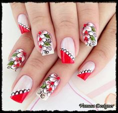 uñas frances rojo flores blancas Fabulous Nails, Perfect Nails, Gorgeous Nails, Pretty Nails, Fingernail Designs, Cute Nail Designs, Flower Nail Art, Beautiful Nail Art, Creative Nails