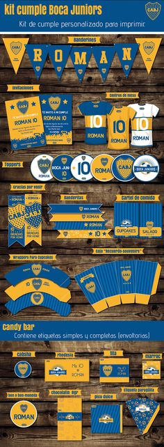 #kit #Boca #kitcumple #invitaciones #imprimible #kitimprimible #bocajuniors #lamitadmasuno #banderines #toppers #candybar #cumpleboca #cumpletematico #fiestacumple Soccer Birthday, Soccer Party, 60th Birthday, Boca Jr, Ideas Para Fiestas, Party In A Box, Minions, Printables, Baby Shower