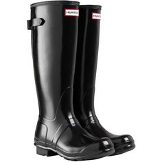 Hunter Women's Original Adjustable Rubber Wellington Boots, Glossy... ($155) ❤ liked on Polyvore featuring shoes, boots, waterproof wellington boots, rain boots, black flat shoes, black boots and wellies boots