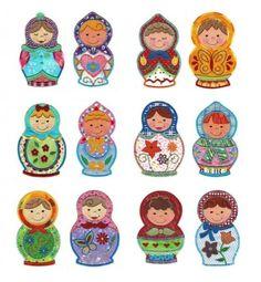 Nesting Dolls Cute Applique Machine Embroidery Designs | Designs by JuJu