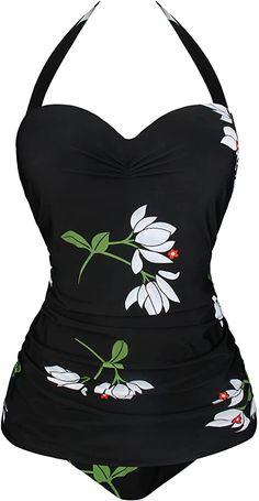 Angerella One Piece Swimsuits for Women Retro Vintage Halter Swimwear Tummy Control Bathing Suit White, 2XL at Amazon Women's Clothing store