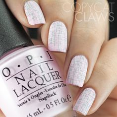 Copycat Claws: Pale Pink Tweed Nail Stamping