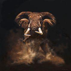 Elephant by Karen Laurence Rowe Elephant Love, Elephant Art, African Elephant, African Animals, Wildlife Paintings, Wildlife Art, Animal Paintings, Animal Drawings, Elephant Paintings