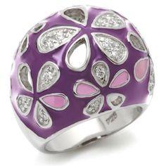 Size 8 Purple Lavender Enamel Flower Silver Fashion Ring Fine CZ Stone Accents - Rings