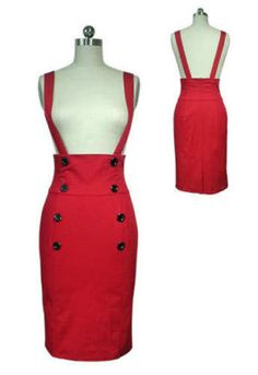 Red High Waist Rockabilly Pin Up 50's Style Suspender Skirt - really am loving this one