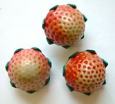 3 Vintage 3-D Realistic Celluloid Strawberry Buttons