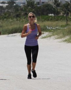 Fitness Inspiration - Julianne Hough jogging on Miami Beach, FL.