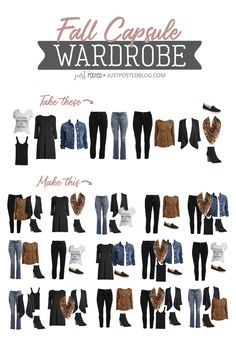 How to create a Fall Capsule Wardrobe. This 12 piece Fall Capsule wardrobe with 15 created outfits features some great basics, work items, casual items and some pops of leopard! So many of these items can be mixed and matched to create so many different looks. A lot of these items could be worn all year long too to build the perfect capsule wardrobe! So many cute Fall looks!