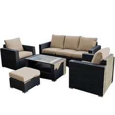 Materials: Polyfiber, Sponge, Steel, Wicker;Rattan Color: Gray. Cushions:Light Brown Polyester Fabric And 25D Sponge Paded. Weight Capacity: 300 Pound. Single Sofa: 34.25×33.07×28.35(L×Deep×H). 3 ...